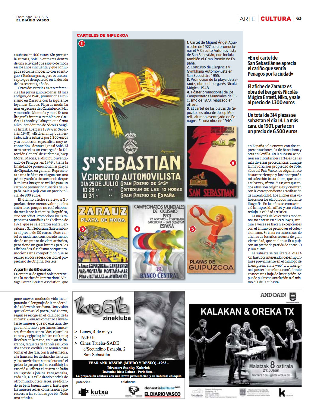 Resultado de nuestras acciones de PR: publicación en Diario Vasco acerca de la próxima subasta de Original Posters Barcelona