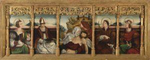 JUAN DE BUSTAMANTE (Estella, Navarra, hacia 1495-1553 Banco de retablo o predela con La